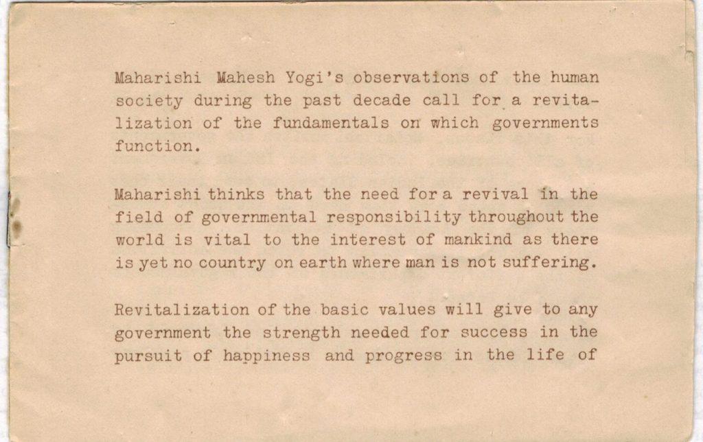 Invitation to join the Maharishi Mahesh Yogi ashram, Rishikesh. page 1