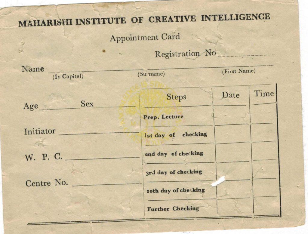 Maharishi Mahesh Yogi registration 1
